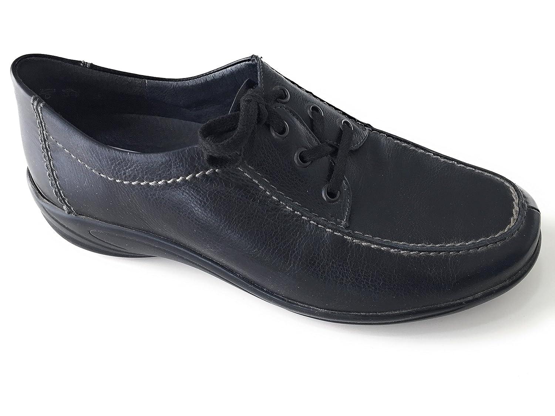 Semler Zapatos de Cordones de Piel Lisa Para Mujer Negro Negro 5.5