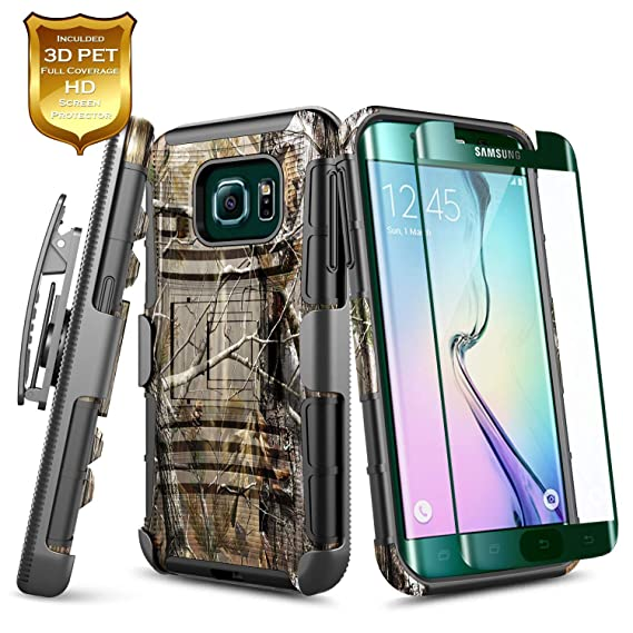 watch c933a f1bec Galaxy S7 Edge Case w/[Full Coverage Screen Protector HD Clear], NageBee  [Heavy Duty] Armor Shock Proof [Belt Clip] Holster [Kickstand] Combo Rugged  ...
