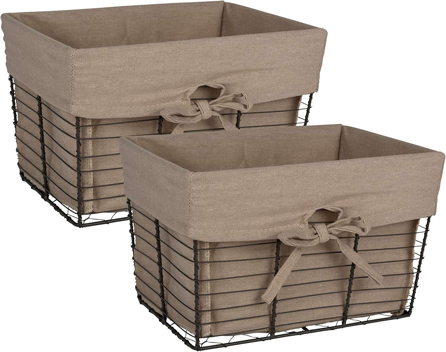 DII Farmhouse Vintage Storage Baskets with Liner, Medium S/2, Taupe 2 Piece
