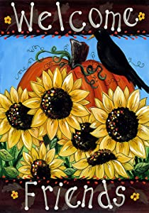 Toland Home Garden Welcome Friends 28 x 40 Inch Decorative Fall Autumn Sunflower Bird House Flag