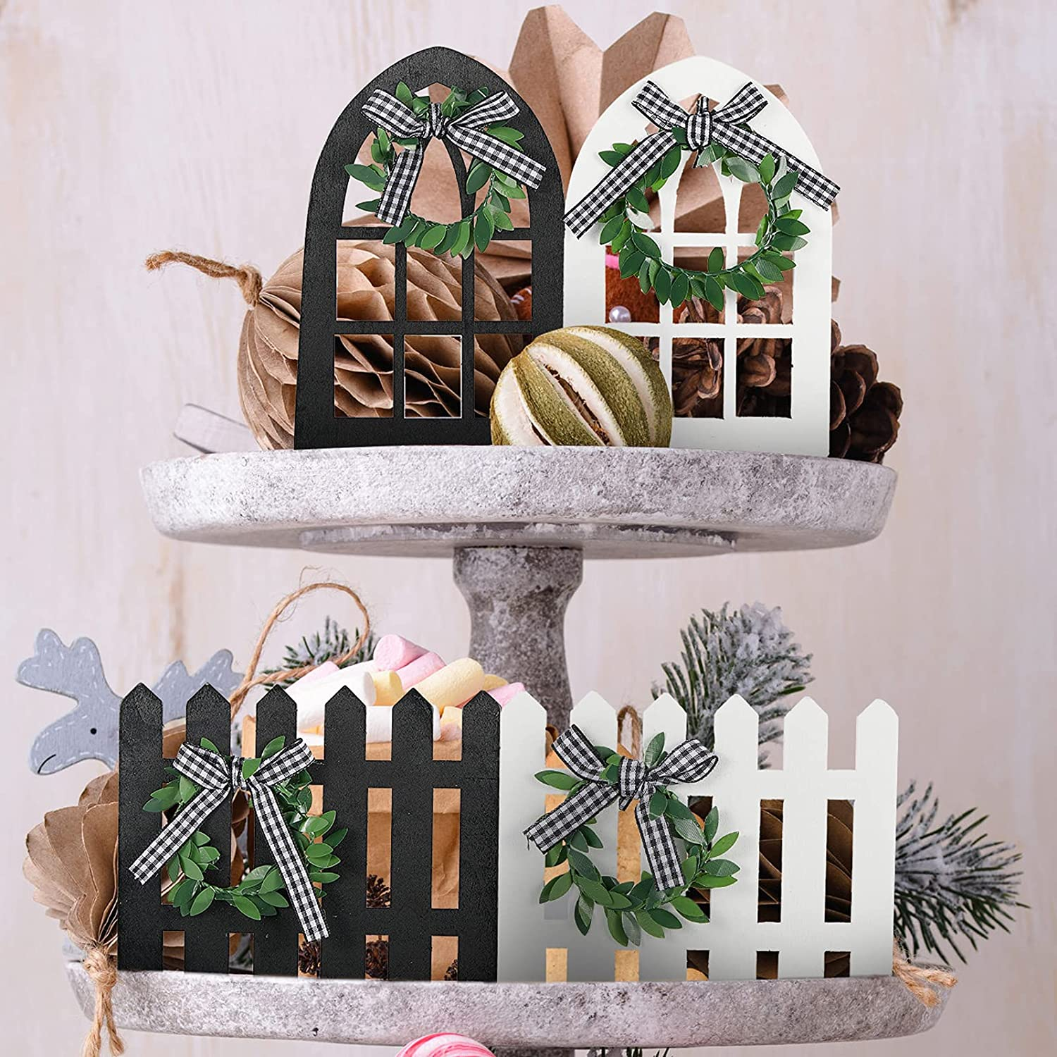 Jetec 4 Pieces Farmhouse Tiered Tray Decor Wood Arch Window and Picket Fence Mini Black and White Plaid Rustic Tiered Tray Items for Farmhouse Home Wedding Party Decor