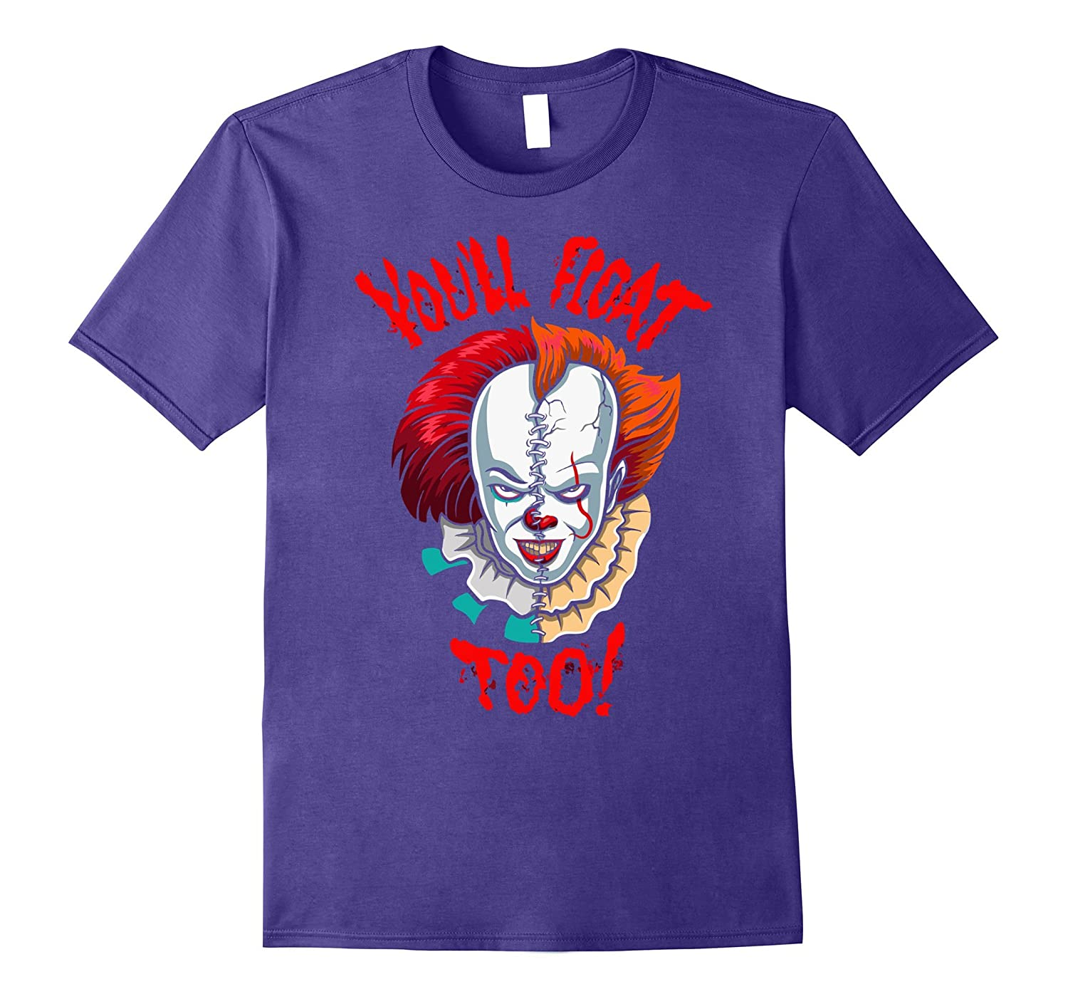Red Balloon Float Clown Horror Halloween T-shirt-FL