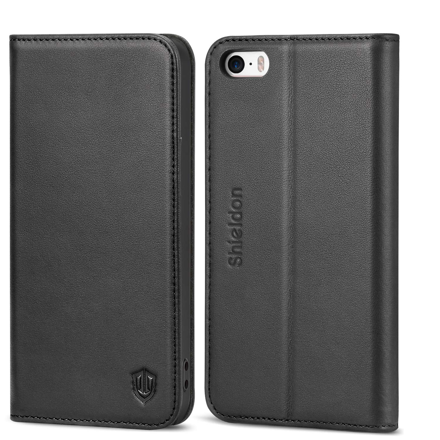 new product 5be2d 97a3d SHIELDON iPhone SE Case, iPhone 5S Wallet Case, Genuine Leather Case Slim  Flip Cover with Kickstand and ID Card Holder, Magnetic Closure Compatible  ...