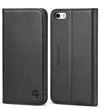 new product 91f80 53074 SHIELDON iPhone SE Case, iPhone 5S Wallet Case, Genuine Leather Case Slim  Flip Cover with Kickstand and ID Card Holder, Magnetic Closure Compatible  ...
