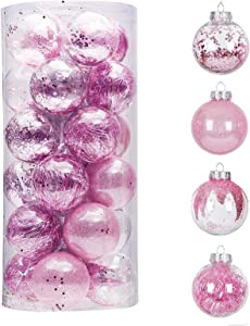 "24ct 70mm/2.76"" Clear Christmas Ball Ornaments, Shatterproof Plastic Christmas Tree Ornaments Baubles with Stuffed Decorations, Hanging Balls for Xmas and New Year Holiday Home Party Decor, Pink"