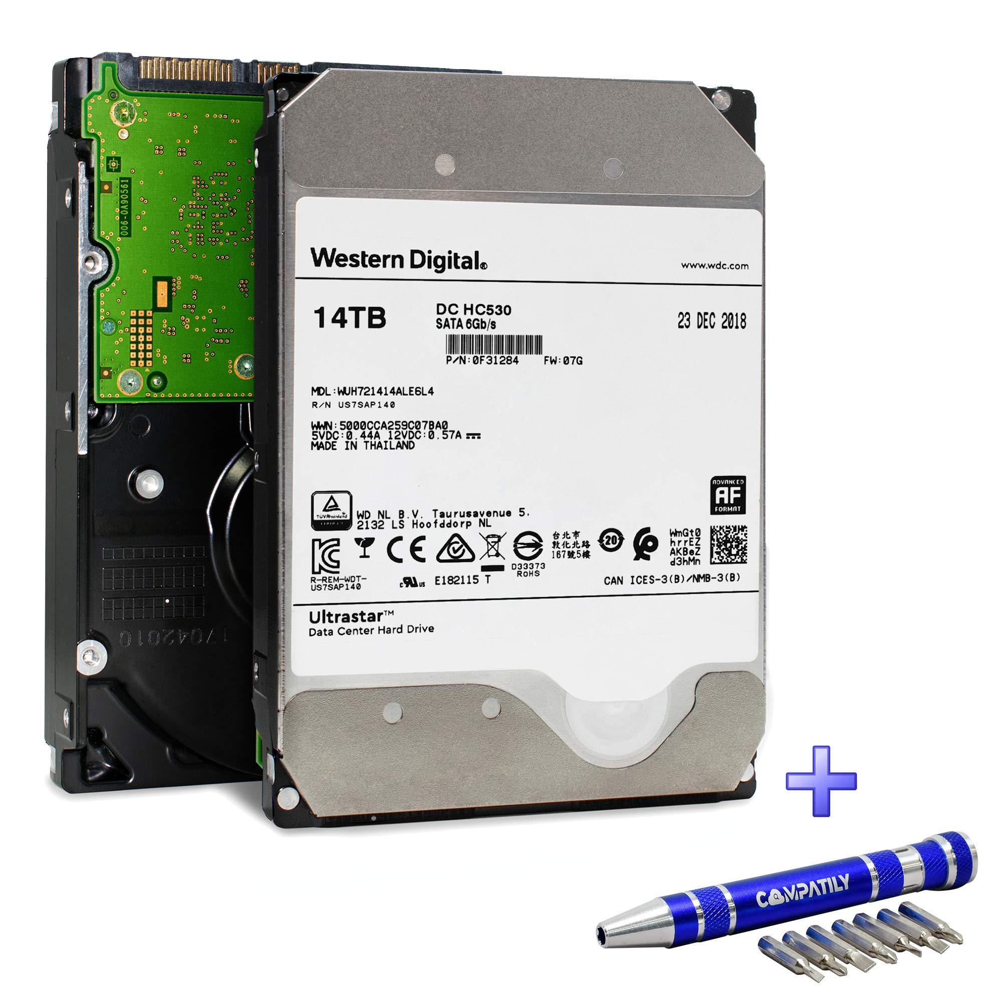 Western Digital Ultrastar DC HC530 HDD 14TB 7.2k RPM SATA 6Gb/s 512MB Cache 3.5-Inch Enterprise Data Center Hard Drive   WUH721414ALE6L4   Bundle with COMPATILY Aluminum Screw Driver Kit