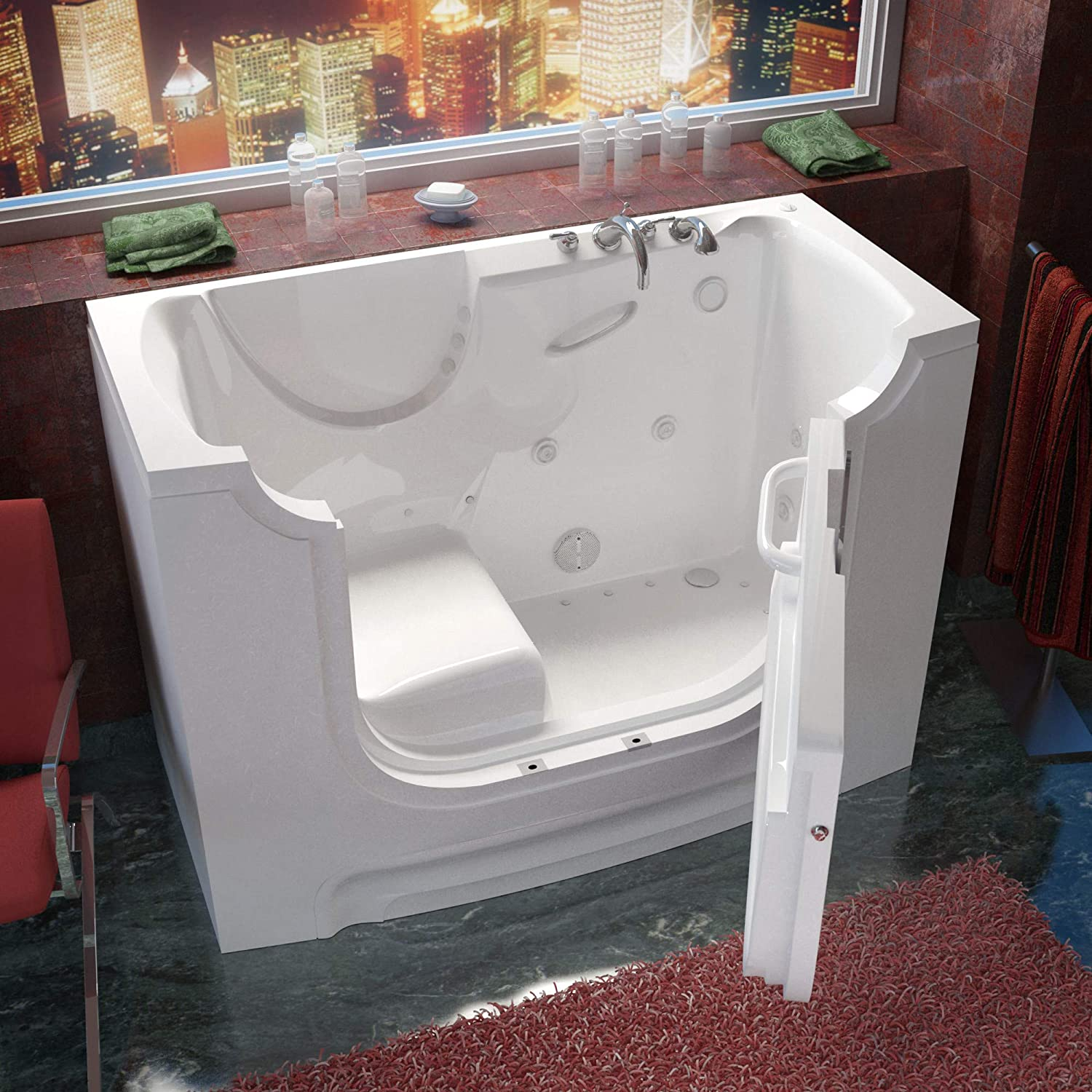Meditub MT3060WCALWH Wheelchair Accessible 30 by 60 by 42-Inch Hydrotherapy Walk In Bathtub Spa Left Side Door White