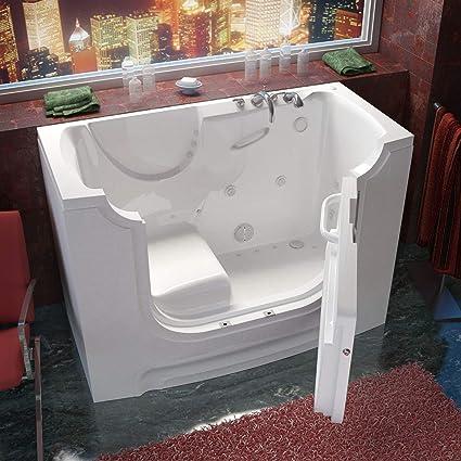 Meditub 3060wcarwd Rectangular Air U0026 Whirlpool Walk In Ada Bathtub, 30 X 60,  Right Drain, Wh   Whirlpool Bathtubs   Amazon.com