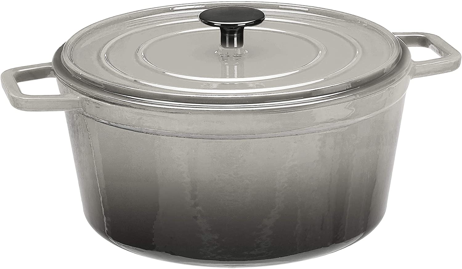 AmazonBasics Premium Enameled Cast Iron Dutch Oven, 5-Quart, Deep Grey