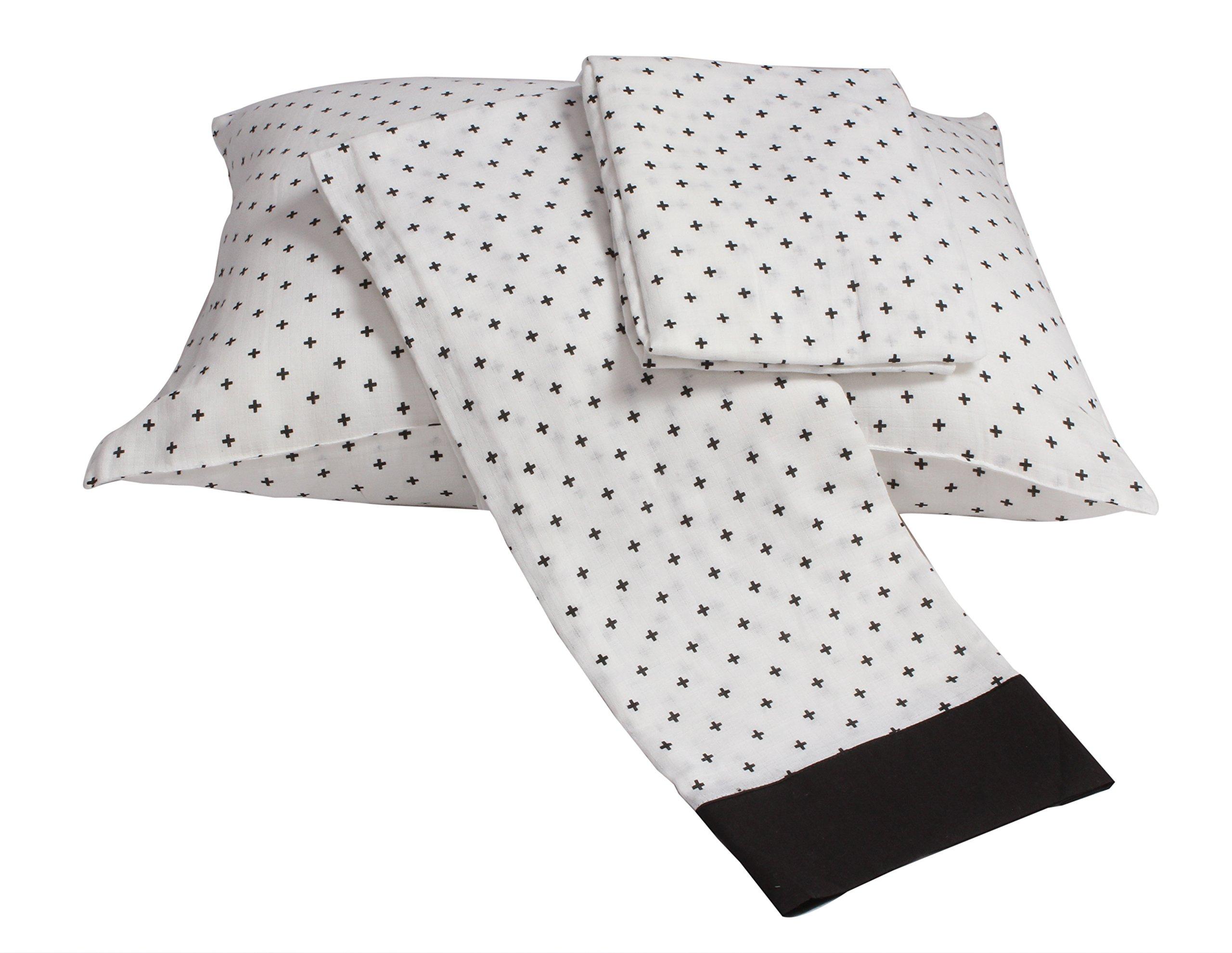 Bacati Plus Muslin 3 Piece Toddler Bedding Sheet Set, Black