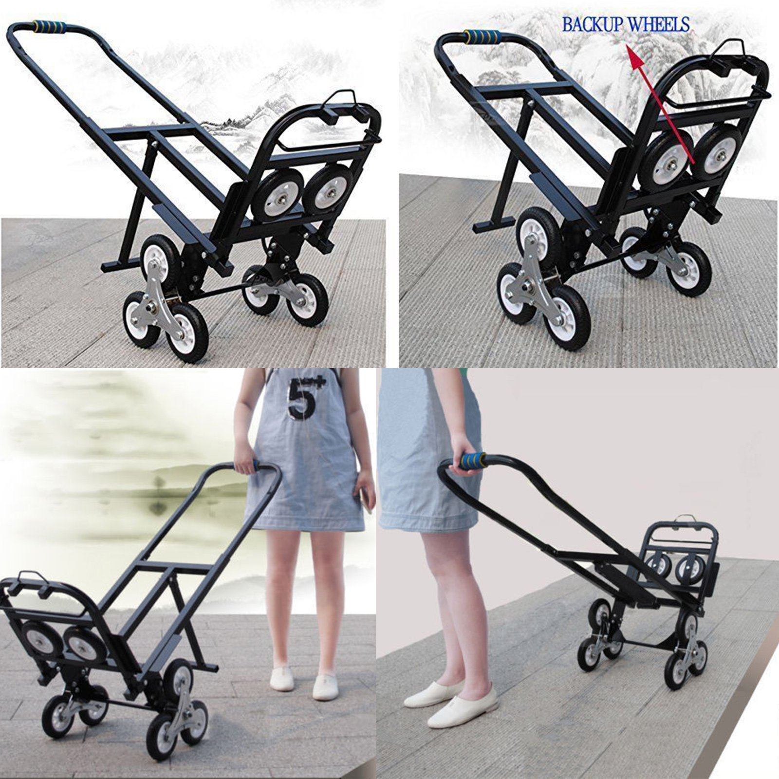 Happybuy Stair Climbing Cart 45 Inches Portable Hand Truck 2x Three-wheel Hand Truck Stair Climber 330LB Capacity Folding Stair Hand Truck Heavy Duty by Happybuy (Image #8)