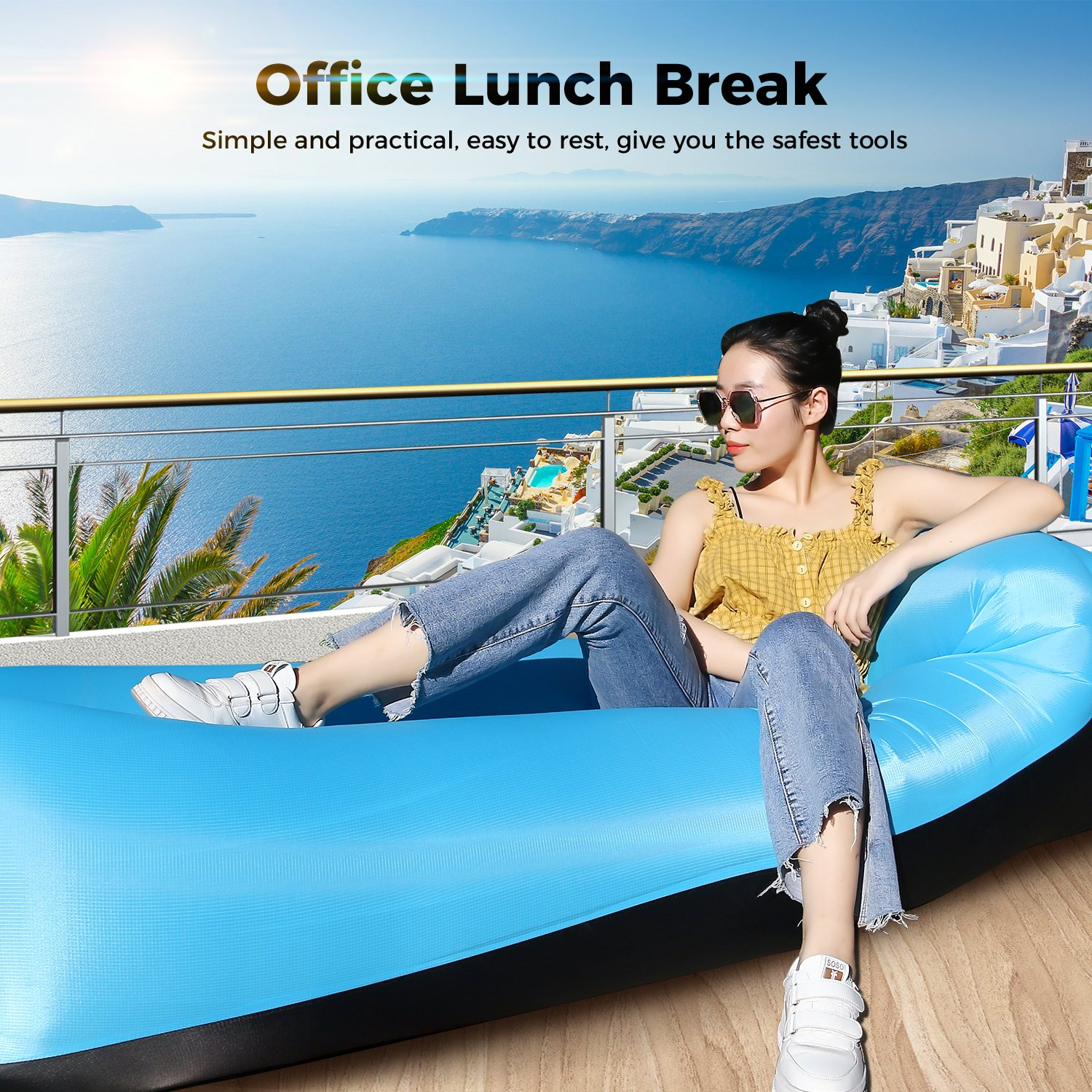 Fishing Swimming EooCoo Inflatable Sofa Bed Hiking Inflatable Lounger Chair for Outdoor Garden Park Camping Beach Backyard