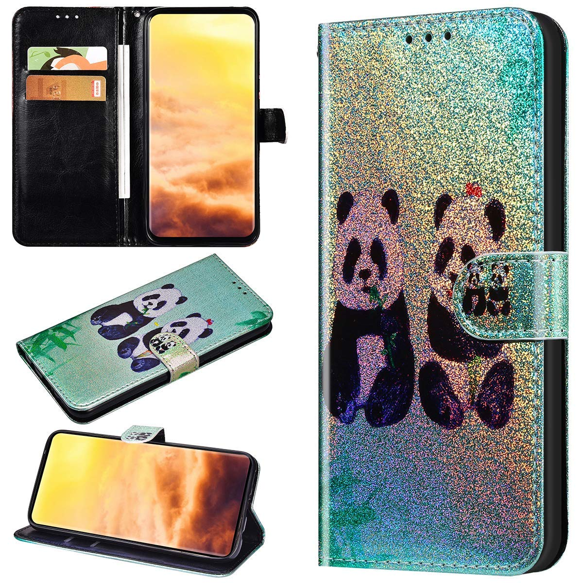 Robinsoni Funda Compatible con Huawei P20 Pro Funda Libro Billetera Funda Reflejo de Luz Cuero Kickstand Funda Animal Impreso Cartera en Silicone Funda Flip Brillar Lujo Vistoso 360 Grados Funda Panda