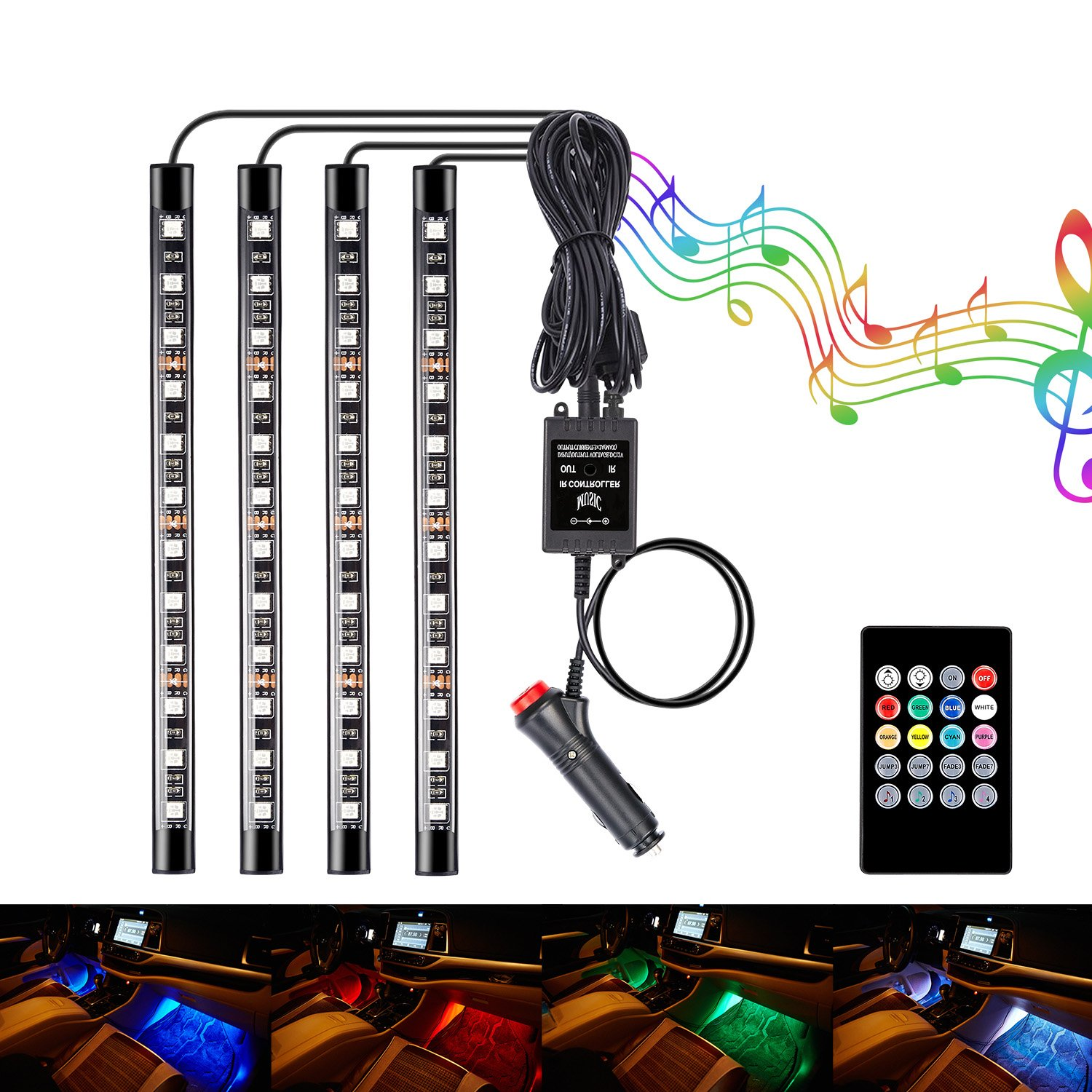 Interior Car Lights, Leadpo 4pcs Multicolor Interior RGB 48 LED DC 12V Light Strip Kit for Cars with Sound Active Function and Wireless Music Remote Control, Car Charger Included