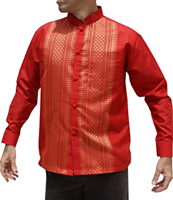 6dd082aac RaanPahMuang Brand Long Sleeve Formal Chinese Woven Motif Silk Shirt at Amazon  Men's Clothing store: