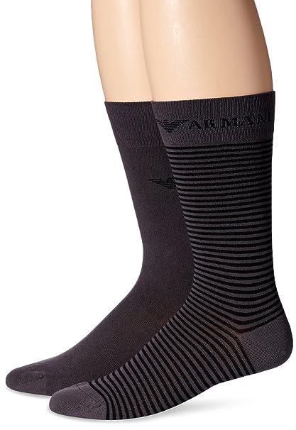 07f74c9b6fb Emporio Armani Men s Two Pack Plain Stripes Cotton Crew Socks ...