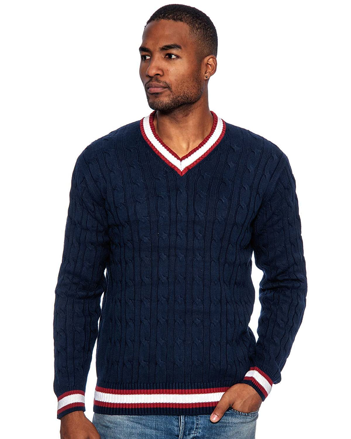 1920s Mens Sweaters, Pullovers, Cardigans  Cable Knit V-Neck Sweater $29.99 AT vintagedancer.com