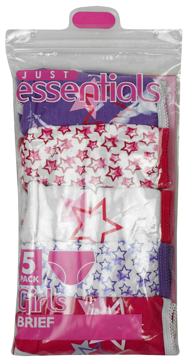 Just Essentials Girls Pack of 5 Bright Stars Cotton Briefs Knickers Underwear Pants Sizes from 2 to 13 Years
