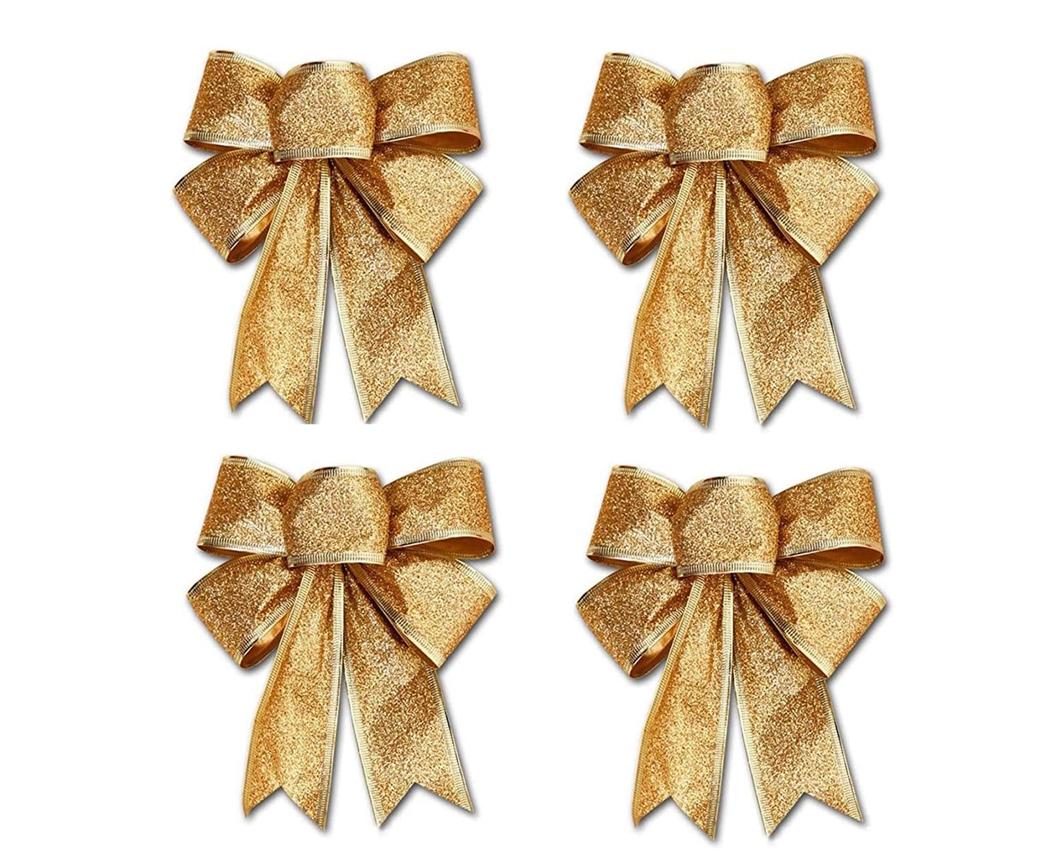 Mini Gold Ribbon Bows Crafts Party Christmas Decoration Bows Tree Bowknots Garden Ornament Pack of 24