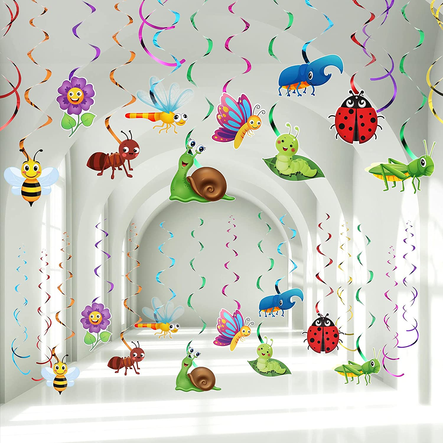 30 Pieces Spring Summer Insects Hanging Swirl Decorations, Butterfly Sunflower Bug Birthday Party Foil Ceiling Streamers for Garden Insects Themed Tea Party Bug Birthday Party Baby Shower Supplies
