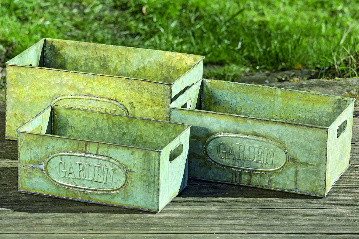 Green Rusty Patina Galvanized Zinc Containers Set of 3
