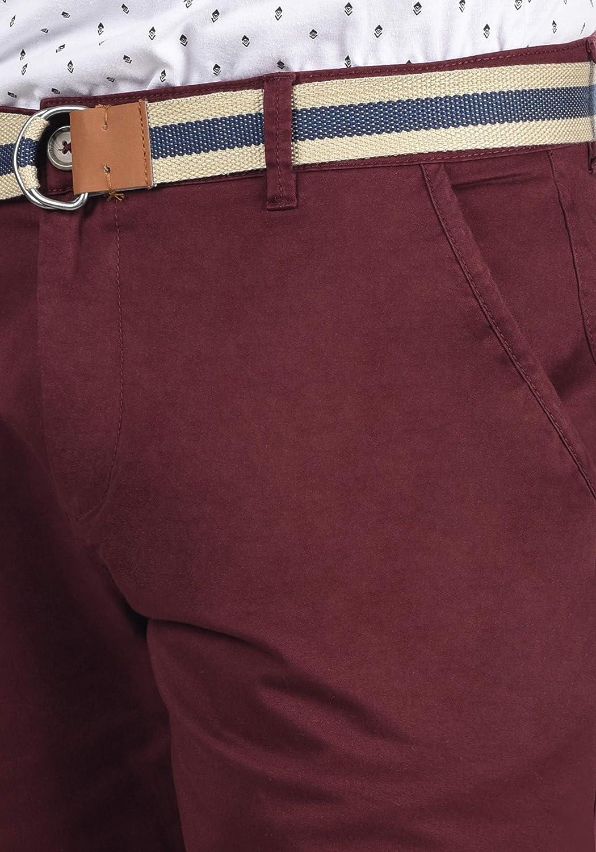 Solid Monty Chino Pantalon Corto Bermuda Pantalones De Tela Para Hombre Con Cinturon Elastico Regular Fit Ropa Hombre