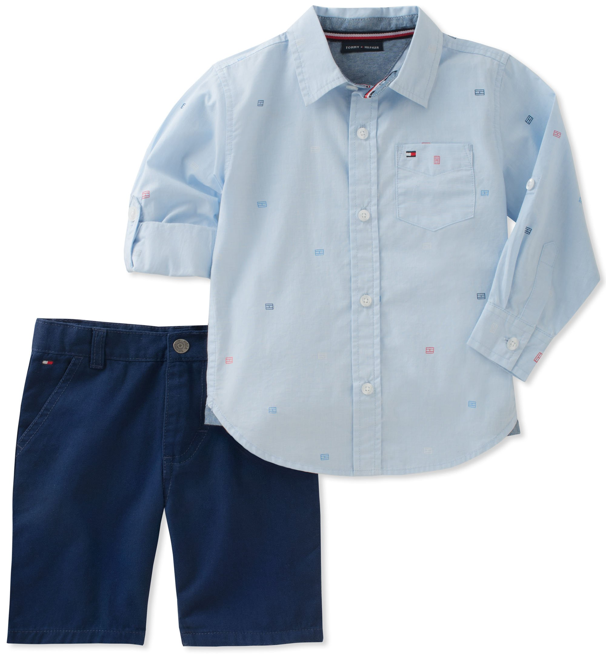 Tommy Hilfiger Boys' Toddler 2 Pieces Long Sleeves Shirt Shorts Set, Blue/Navy, 2T