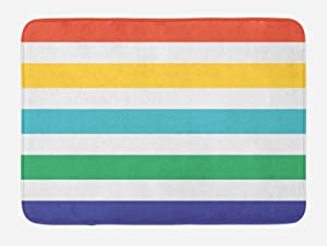 Ambesonne Striped Bath Mat, Rainbow Colored and White Fun Horizontal Lines Room Red Yellow Blue Green Art, Plush Bathroom Decor Mat with Non Slip Backing, 29.5