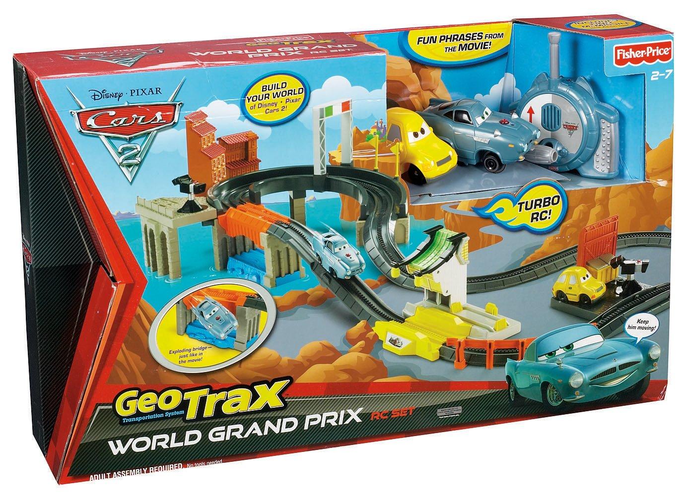 Amazon com fisher price geotrax disney pixar cars 2 world grand prix rc set toys games