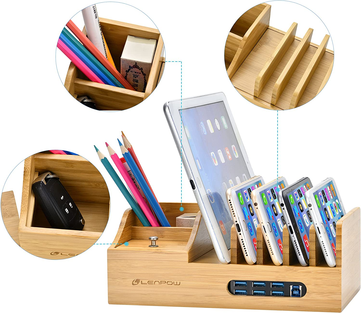 Charging Station WJZXTEK Bamboo Charging Dock Multi Device Charging Stand Cable Cords Desktop Organizer Compatible with Most of The 4//5//6 Port USB Charger for Smartphones//Tablets//otterbox