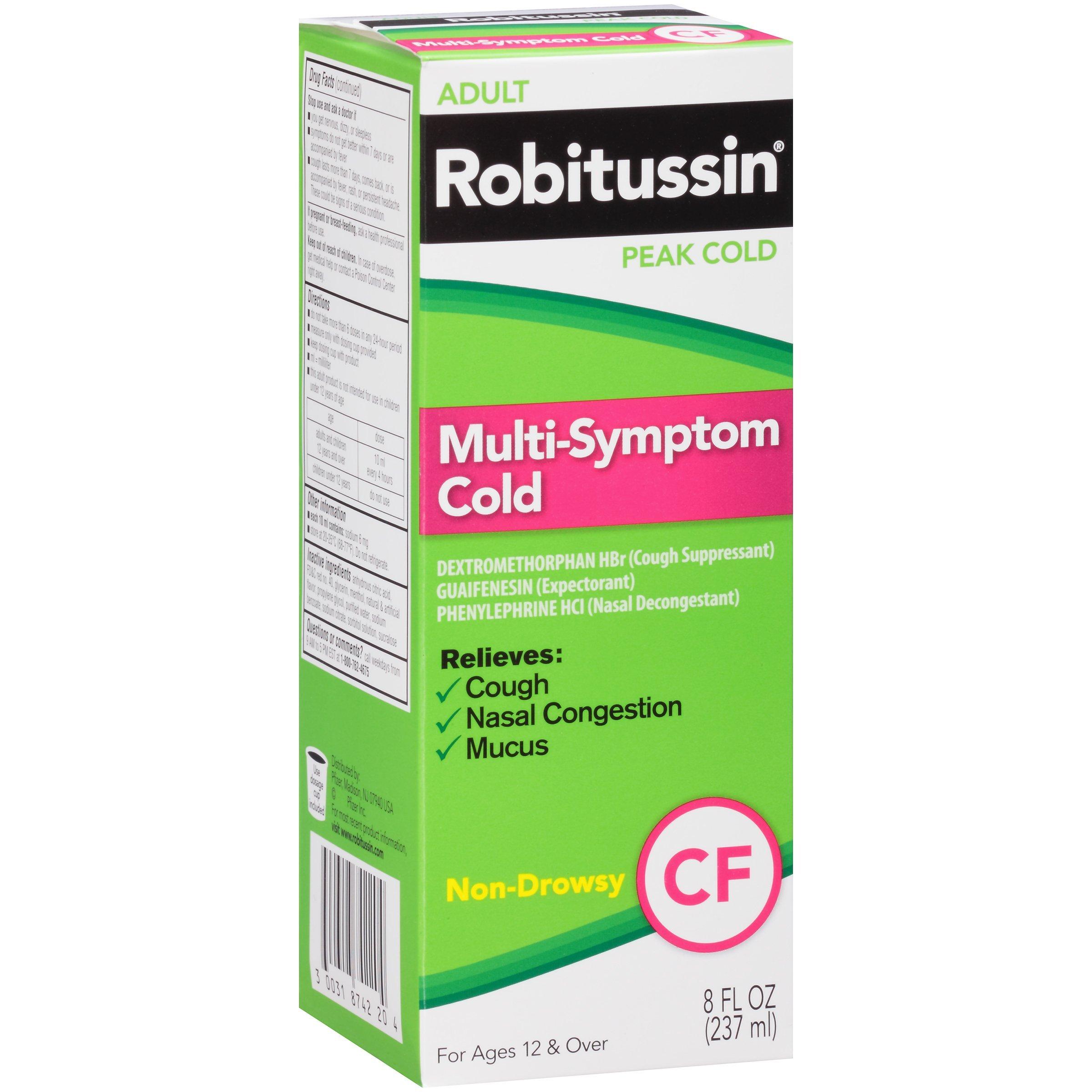 Robitussin Peak Cold CF Multi-Symptom Cold Relief (8 fl. oz. Bottle, Pack of 12)