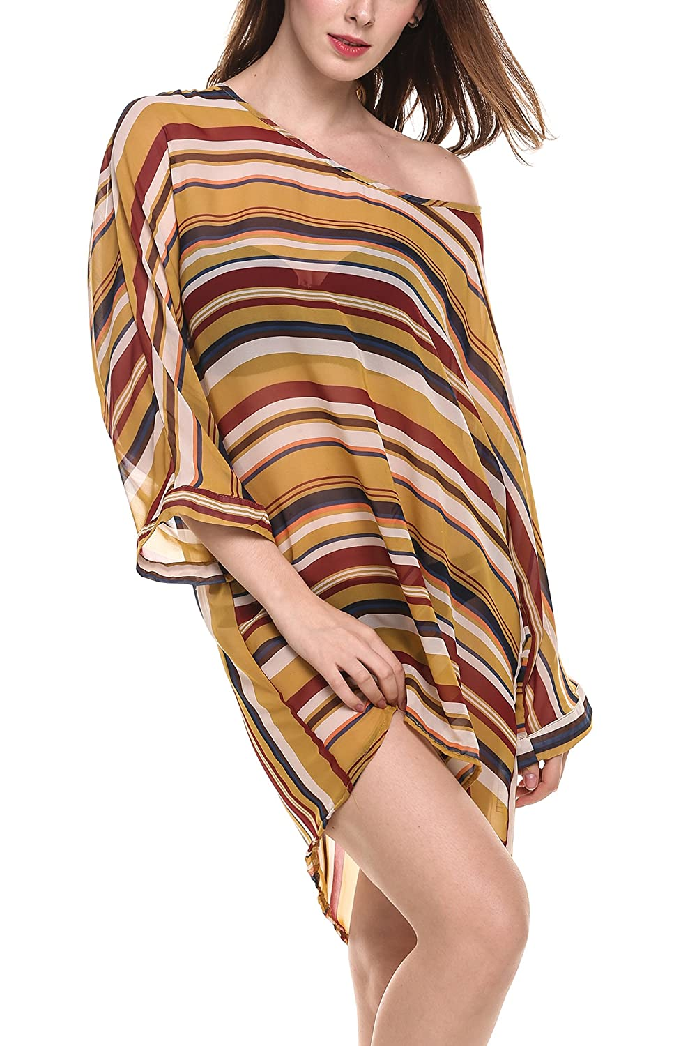 Meaneor Womens Oversized Striped Beach Bikini Swimwear Cover-up Swimsuit Cover up ***MAH011605