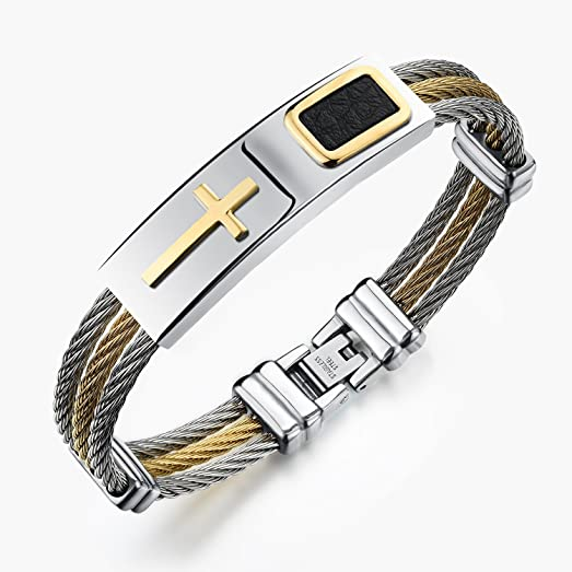 Amazon Com Hooami Jewelry Mens Cross 3 Rows Twisted Cable Wire