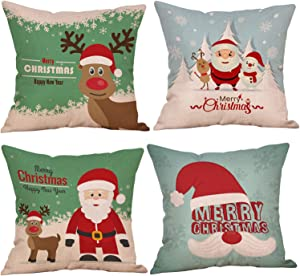 Kyerivs Christmas Pillow Cover Snowman Cartoon Santa Linen Cotton Design Cushion Cover 18 x 18 Inch for Merry Christmas Winter Holiday Home Decoration 4 Pack (NO Pillow)