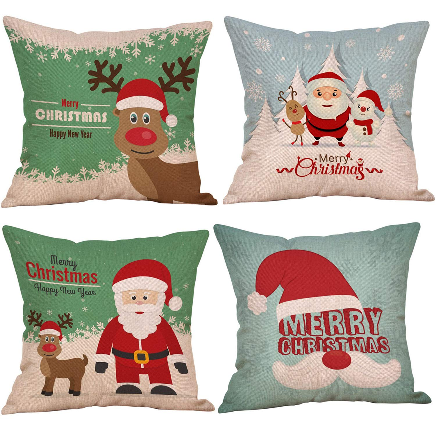 Kyerivs 4 Pack Christmas Pillow Cover Throw Cushion Cover 45 x 45 CM for Xmas Happy New Year Winter Home Decoration(NO Pillow) -CD2