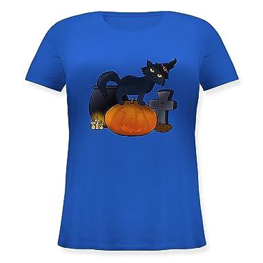 Shirtracer Halloween - Halloween Katze mit Hexenhut - S (44) - Blau - JHK601