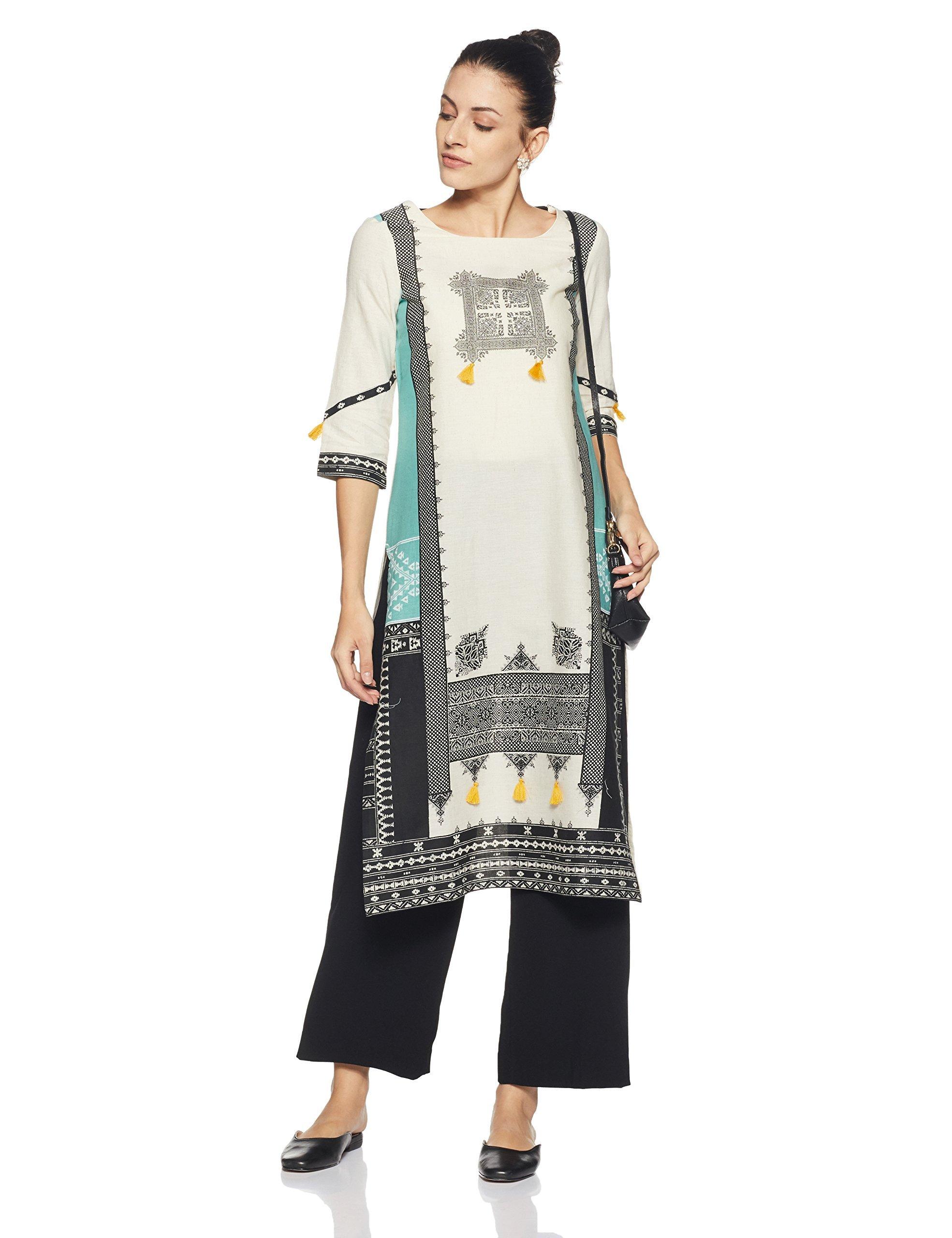 W for Woman Straight 3/4th Sleeve Cotton Designer Kurta