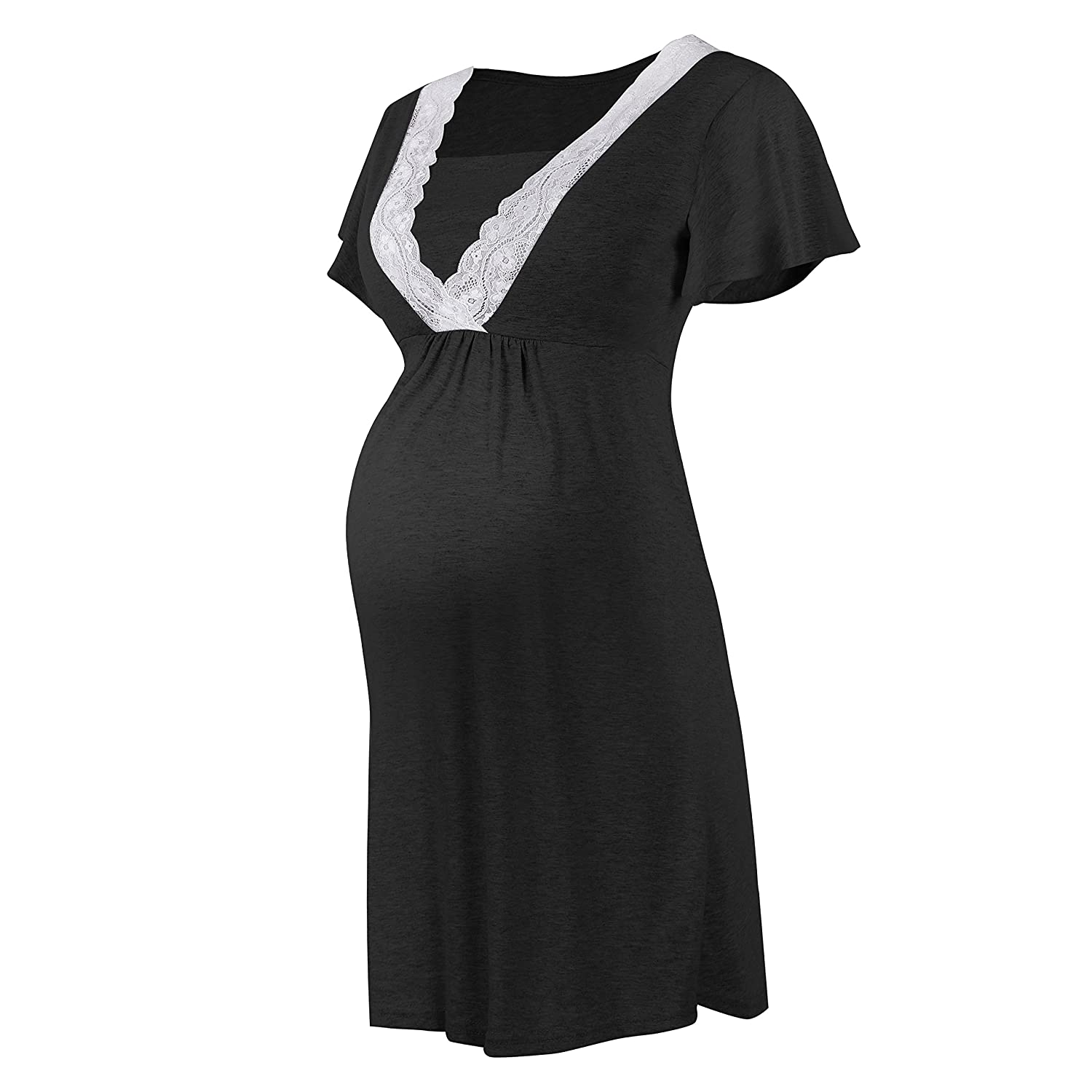 SUNNYBUY Women Short Sleeve Nursing Dresses Pregnancy Clothes Maternity Nightgown Breastfeed Sleepwear