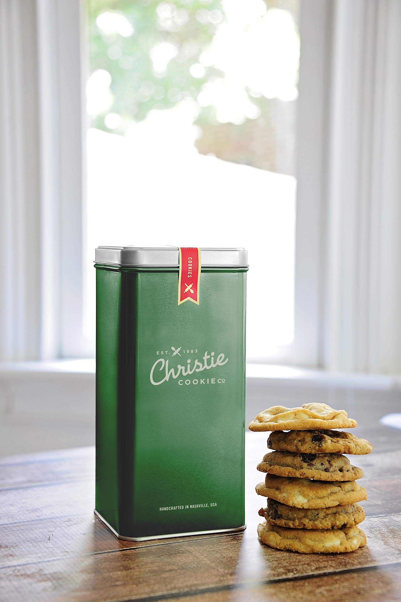 Christie Cookies, Gourmet Assorted Cookies, 12 Fresh-Baked Cookies in Green Tin, No Added Preservatives, 100% Real Butter, Holiday & Corporate Gift Tin, Birthday Gift Idea for Men & Women
