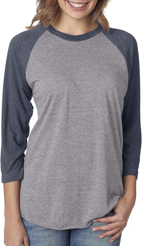 Next Level Unisex 3/4-Sleeve Raglan T-Shirt, Vintage NVY/Premium HTHR, Medium