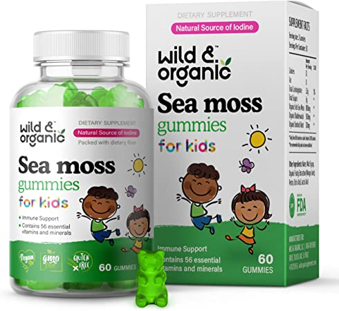 Wild & Organic Kids Sea Moss Gummies - Irish Moss, Bladderwrack & Chicory Root Superfood Nutritional Supplement - Iodine-Rich Dietary Candy for Thyroid, Digestive & Immune Health Support - 60 Gummies