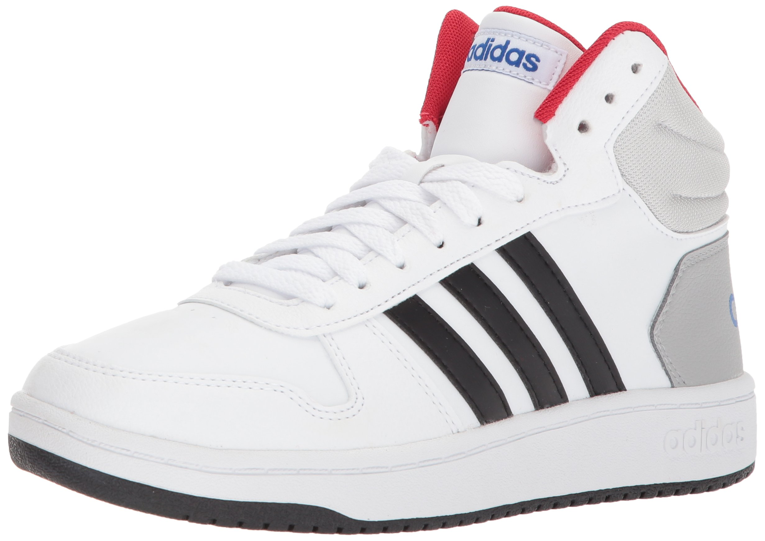 adidas Kids' Hoops Mid 2.0, White/Core Black/Scarlet, 6 M US Little Kid