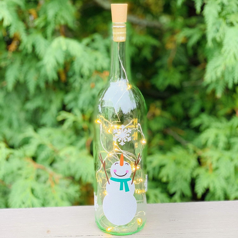 Snowman Wine Bottle Decoration with Lights Wine Bottle Crafts Winter Snowman Wine Bottle Decor Holiday Decorations