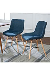 Walker Edison Furniture Company Mid Century Modern Upholstered Fabric and Wood Dining Room Chair Kitchen, Set of 2, Blue