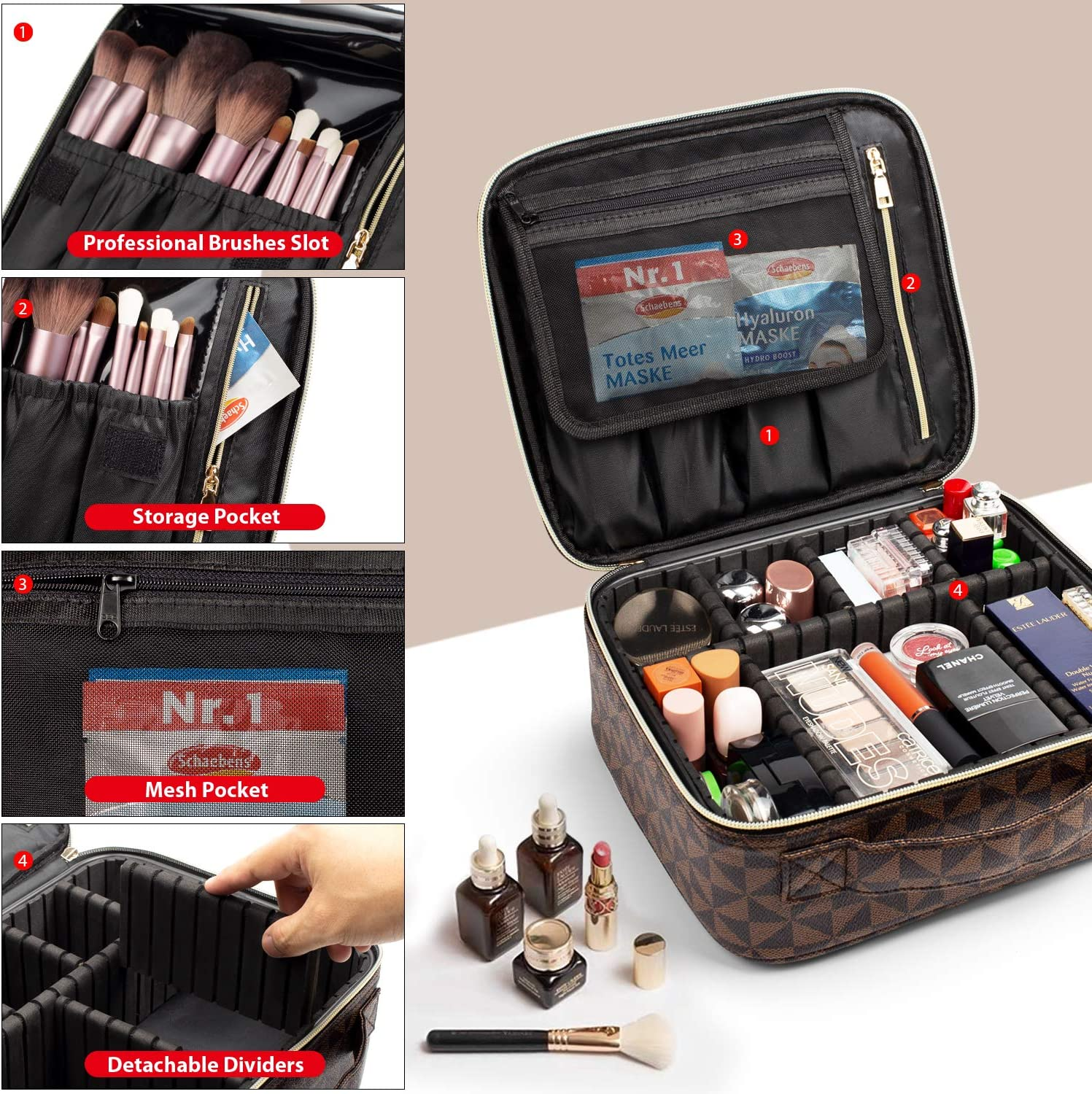 Makeup Bag,WDLHQC Upgraded Travel Makeup Organizers & Storage Case,Portable Make up Bag Cosmetic Train,Gift for Her,Women,Girl