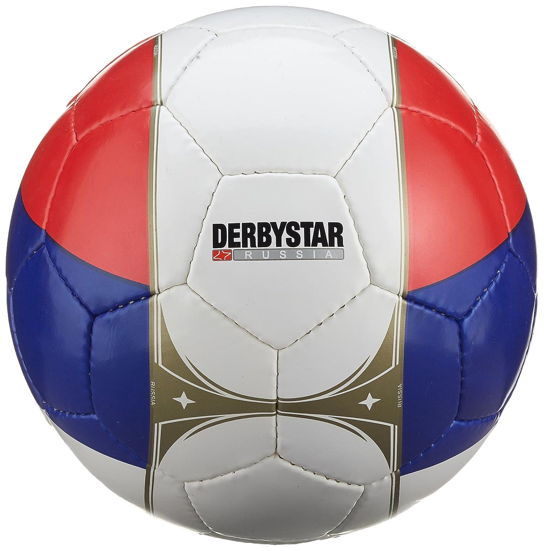 Derbystar 1672500100–Balón de fútbol Rusia, Color Blanco/Azul/Rojo, 5, 1505519000