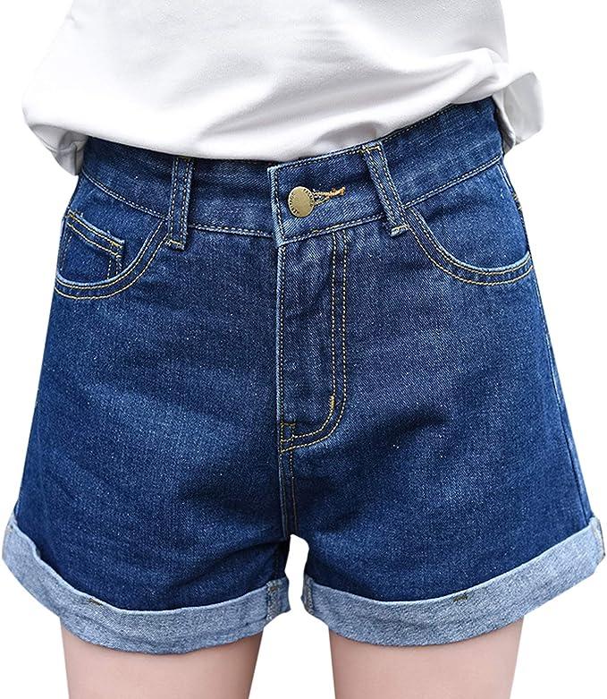 Elonglin Damen Denim Shorts Minishorts Kurz Hose Jeansshorts Basic High Waist Hotpants Quaste
