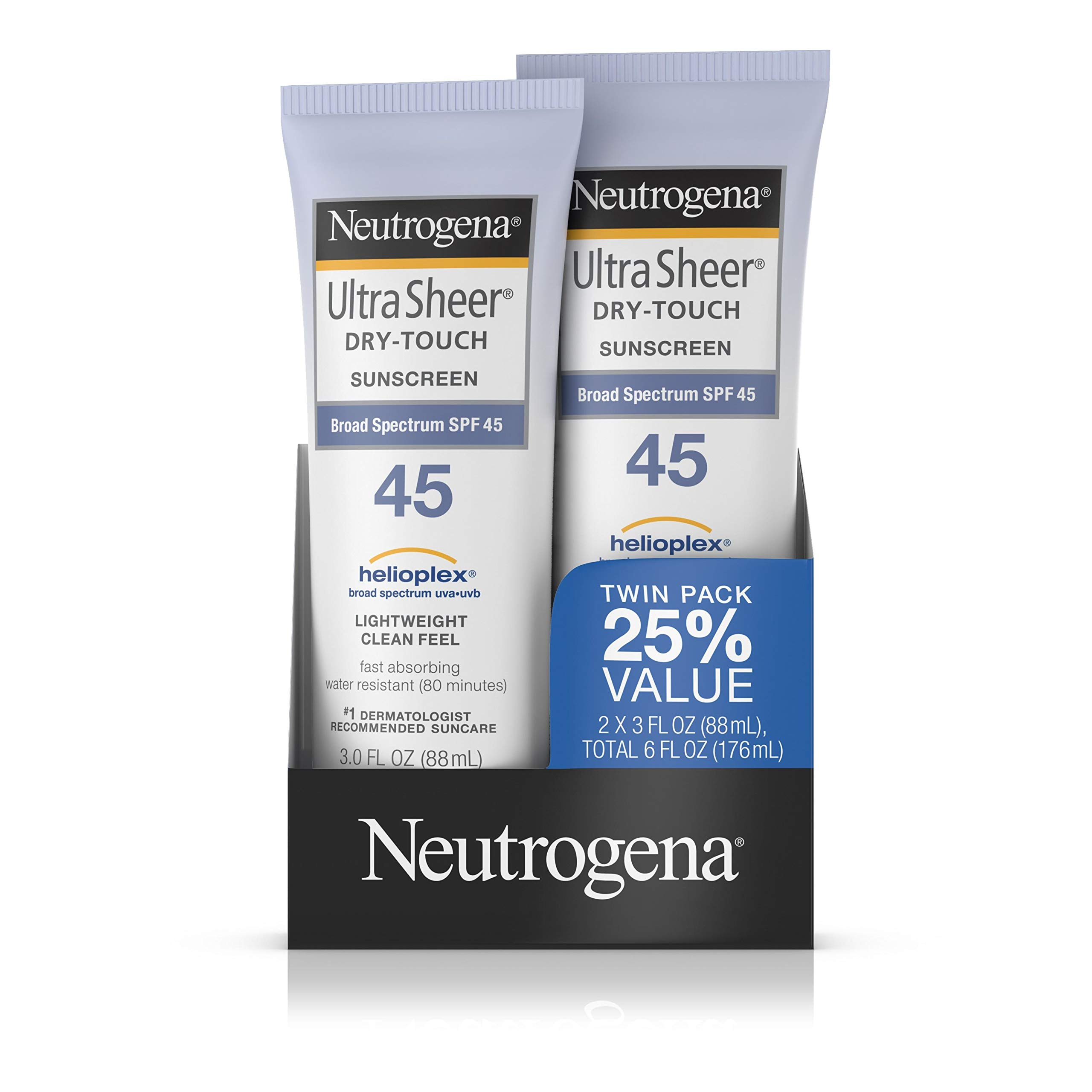 Neutrogena Ultra Sheer Dry-Touch Water Resistant and Non-Greasy Sunscreen Lotion with Broad Spectrum SPF 45, 3 fl. oz, Pack of 2 by Neutrogena