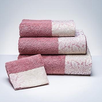 Sancarlos - Toalla de baño Ashley Rosa Rosa - Cenefa Jacquard. - Densidad 500 g. - Rizo 100% algodón.: Amazon.es: Hogar