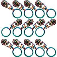 12PCS Rainbow Zipper Pulls, 5 Nylon Zipper Repair Kit, Colorful Metal Zipper Slider Replacement for Sewing DIY Tailor…